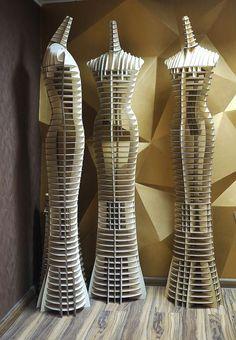 Maniquíes realizados con cartón en 3d