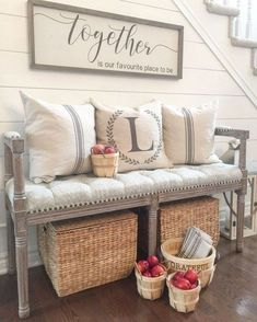 Gorgeous Rustic Chic Living Rooms Ideas that You Must See - Decoration for All Rustic Entryway, Entryway Decor, Entryway Bench, Porch Bench, Bench Decor, Entryway Organization, Foyer Decorating, Decorating Your Home, Decorating Ideas