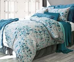 Dress your bed in the blooming Hycroft Duvet Cover Set for a dainty and delicate look in any room. Adorned with an embroidered flower bloom design in Maya blue on a charcoal background, the beautiful bedding brings a serene atmosphere to your bedroom. Full Duvet Cover, Bed Duvet Covers, Duvet Cover Sets, Pillow Shams, Modern Duvet Covers, Modern Bedding, Duvet Bedding, Comforter Sets, Cover