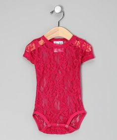 Take a look at this Hot Pink Lace Bodysuit - Infant by Clad in Cuteness: Infant Apparel on #zulily today!