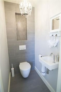 Space Saving Toilet Design for Small Bathroom - Home to Z Space Saving Toilet, Small Toilet Room, Bathroom Design Small, Simple Bathroom, Modern Bathroom, Bathroom Ideas, Cloakroom Ideas, 1950s Bathroom, Narrow Bathroom