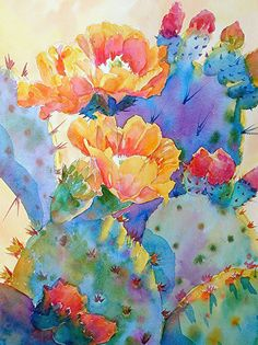 Mary Shepard - Portfolio of Works: Watercolor Cactus Originals Cactus Painting, Watercolor Art, Colorful Art, Southwest Art, Flower Art, Floral Art, Desert Art, Art, Floral Watercolor