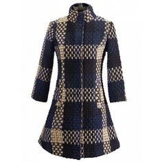 Choies Navy Plaid Stand Collar Long Sleeve Wool Slim Coat ($82) ❤ liked on Polyvore featuring outerwear, coats, black, slim coat, navy blue coat, slim fit wool coat, slim fit coat and navy coat