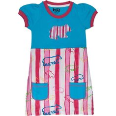 A comfortable dress for playful little girls, this cotton t-shirt dress is alive with color and pattern. The light blue top with hot pink contrast trim is decorated with a striped applique bear design