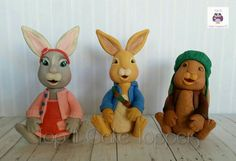 New Peter Rabbit cake toppers. Lily, Peter & Benjamin. Made with marshmallow fondant
