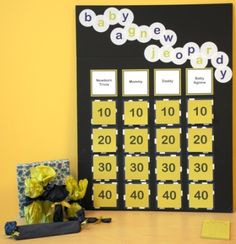 Baby Jeopardy! Such a cute idea. I am doing this for Curtis and Becca's baby shower! =)