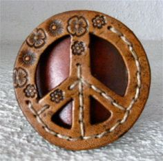 leather peace sign