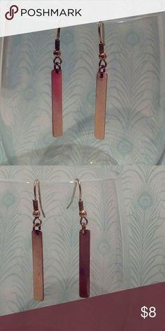 Gold Dangle Earrings Rectangular gold colored charm dangling from earrings Jewelry Earrings