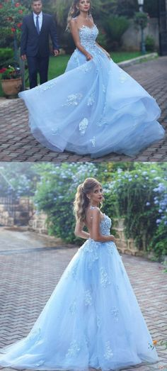 Light Blue Evening Dress,Lace Appliques Prom Dress,Elegant Bridesmaid Dress,Long Formal Gowns,Prom Dresses,Tulle Evening Dresses,Long Evening Dresses, Evening Dress,Custom Made ,New Fashion