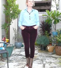 Love the light blue shirt with the burgundy cords. Fresh color combo!