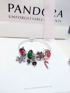 50% OFF!!! $199 Pandora Charm Bracelet Red Green. Hot Sale!!! SKU: CB02061 - PANDORA Bracelet Ideas
