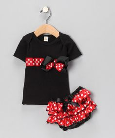Take a look at this Red Polka Dot Tee & Diaper Cover - Infant & Toddler by Sparkle Couture on #zulily today!