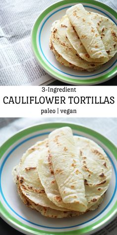 This cauliflower tortilla is soft and flexible and is made without grains, eggs or dairy.