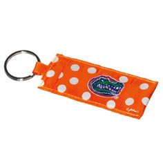 Orange and Blue Polka-dot Florida Key ring that will hold your lipstick!!!