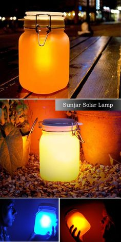 Sunjar Solar Lamp At night your Sun Jar lights up automatically. In the day leave your Sun Jar outside - or in a sunny window for several hours to charge.Made with a traditional Mason Jar. Inside the jar is a highly efficient solar cell, rechargeable batt Solar Lamp, Led Lamp, Night Light, Light Up, Desktop Lamp, Led Diy, Jar Lights, Mason Jar Lamp, Sunlight