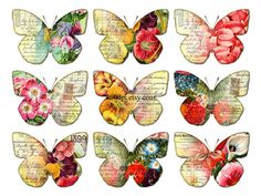 butterflies clipart clip art - printable download digital collage sheet flowers wings vintage diy poster jpg png image transfer tag no.257