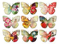 butterflies clipart clip art - printable download digital collage sheet flowers wings vintage diy poster jpg png image transfer tag no.257