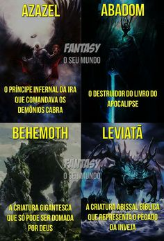 Azazel, Abadon, Behemoth e Leviatã Mythological Creatures, Fantasy Creatures, Mythical Creatures, Fantasy Warrior, Fantasy Art, Memes Status, Angels And Demons, Underworld, Cyberpunk