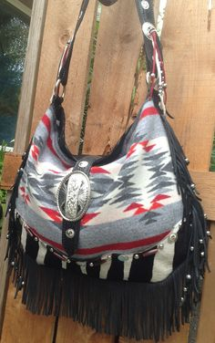 Pendleton Wool & Black Glitzy Leather  Fringed by DoubleJOriginals.. $300.00  SOLD...to Meoldy