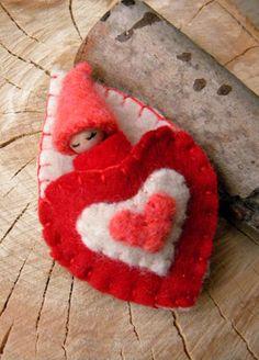 Valentine Heart Baby Valentine's Day Toy Waldorf von MamaWestWind, $15,00