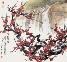 Immortal Fame by guohua on DeviantArt Chinese Cherry Blossom, Cherry Blossom Art, Japanese Drawings, Japanese Art, Korean Art, Asian Art, Chinese Painting Flowers, Blossom Tree Tattoo, Japan Tattoo
