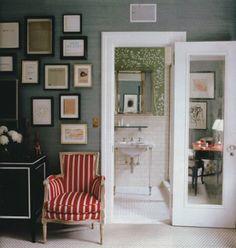 gray walls.