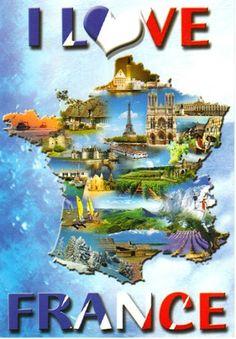 I Love France Map