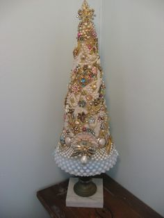 Vintage jewelry Christmas tree on vintage lamp base, via ebay seller: 802all4sale