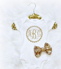 Baby girl Monogram Gold Sparkle glitter girls infant onesie baby shower gift new baby (bodysuit only) - http://www.babies-clothes.info/baby-girl-monogram-gold-sparkle-glitter-girls-infant-onesie-baby-shower-gift-new-baby-bodysuit-only.html