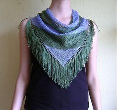 Green Blue Hand Knitted Triangle Scarf / Tassels by RUKAMIshop