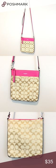 Coach Crossbody Purse Coach Crossbody Purse. Pink leather and signature fabric construction. Previously worn item in excellent used condition. Coach Bags Crossbody Bags