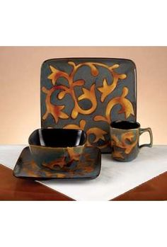 square dinnerware sets | 16 Piece Fusion Square Dinnerware Set Storage