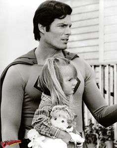 "Christopher Reeves and his daughter. The only little girl in the world who actually could say ""hey, my dad is Superman !"""