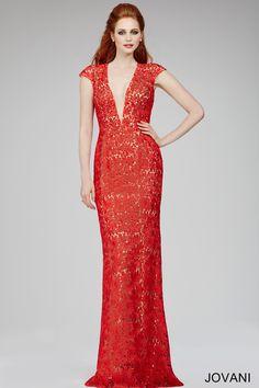 Red Cap Lace Sheath Dress 26337 - Evening Dresses