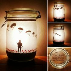 Soldier and poppy field with paratroopers (lest we forget), flanders fields. Crafts With Glass Jars, Mason Jar Crafts, Mason Jar Diy, Remembrance Day Activities, Remembrance Day Art, Service Projects For Kids, Soldier Silhouette, Colonel, Mason Jar Projects