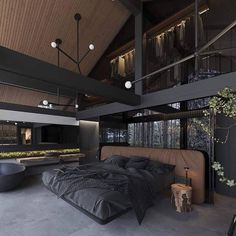 This bedroom the high wooden ceiling and the upstairs closet Home design and decorating ideas to get inspired Loft Interior, Black Interior Design, Dream Bedroom, Home Bedroom, Bedroom Ideas, Master Bedroom, Bedroom Makeovers, Kids Bedroom, Modern Bedroom