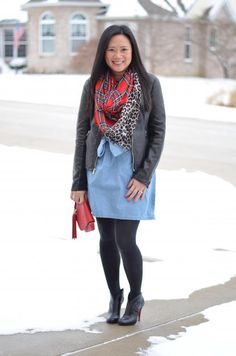 how to wear red, pop of red, red scarf, chambray dress, red bag, black moto jacket, and black booties