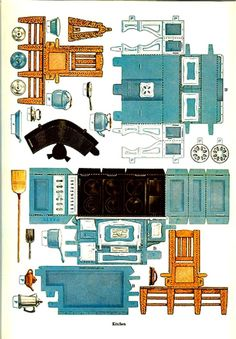 Printable paper dollhouse and furniture from the Japanese site, Paper Museum…