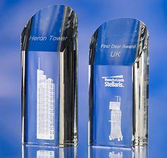 3D crystal rounded pentagon glass award trophy