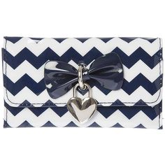 Navy Blue and White Chevron Tri-Fold Wallet with Bow and Heart Charm ($10) ❤ liked on Polyvore featuring bags and wallets