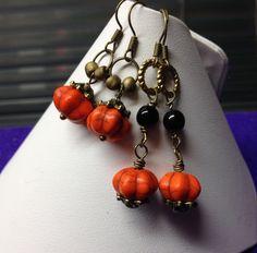 "Semi precious magnesite ""pumpkin"" bead bronze wire earrings - £8.50 per pair"