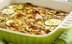 This tasty zucchini cheese casserole is delicious as a side dish or as a vegetarian main dish. It is also a great way to use up a bumper crop of zucchini. This zucchini casserole also makes a delicious low carb entry. Zucchini Casserole, Casserole Recipes, Squash Casserole, Zucchini Enchiladas, Vegetable Casserole, Zucchini Cheese, Zucchini Parmesan, Garlic Cheese, Goat Cheese