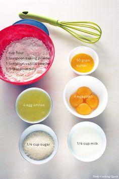 The rest of the ingredienst: flour, baking powder, vanilla powder (or essence), salt, butter, eggs, sugar, and milk.