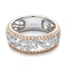 Two Tone Diamond Wedding Bands for Women | Joseph Jewelry › Women's Wedding Rings › Two-Tone Gold, Filigree ...