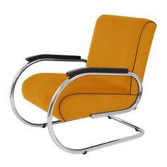 Vilvoure klassieke buisframe fauteuil in Manchester ribstof 8 Geel