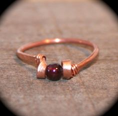 Garnet Ring, Pick Copper or Solid Sterling Silver Ring, Handmade Ring, Wire Wrapped Gemstone Ring, Leaf Ring, Toe Ring, Midi Ring by BirchBarkDesign on Etsy