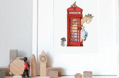 British Telephone Iconic Nursery Art Fine Art by DaisyandBumpArt