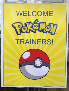 Welcome Pokémon Trainers door sign as décor for a Pokémon-themed birthday party. Click or visit FabEveryday.com to see details and DIY instructions for a Pokémon or Pokémon Go themed kid's party, including printables, food, decorations, favors, and party activities.