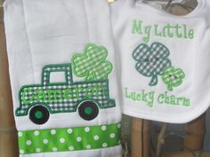Personalized Baby Burp Cloth Bib St Patrick's Day by SixIsEnough, $13.00