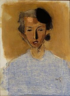 Helene Schjerfbeck (Finnish, 1862 - 1946): Portrait of a Girl in Blue and Brown (Inez) (1944)